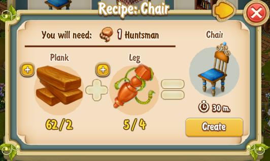 Golden Frontier Chair Recipe