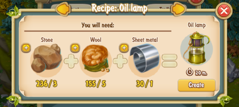 Golden Frontier Oil Lamp Recipe