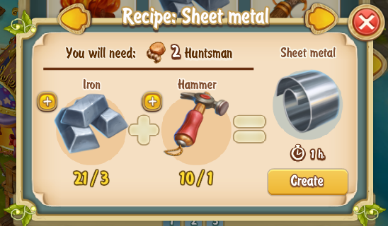 Golden Frontier Sheet Metal Recipe