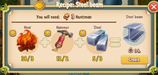 Golden Frontier Steel Beam Recipe