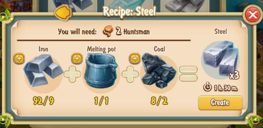 Golden Frontier Steel Recipe
