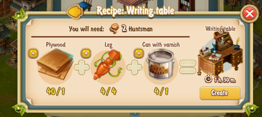 Golden Frontier Writing Table Recipe