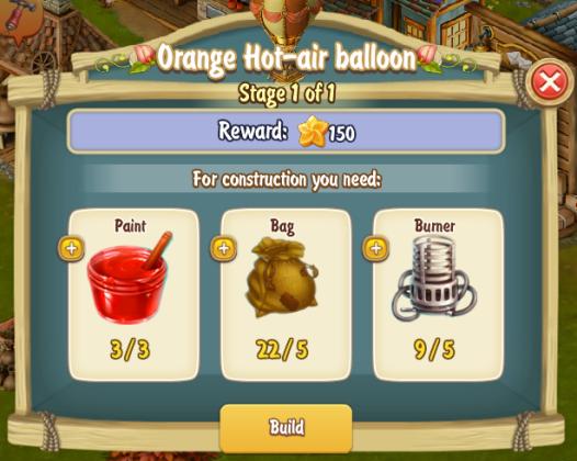 Golden Frontier Orange Hot Air Ballon Stage 1