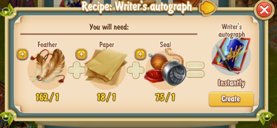 Golden Frontier Writer's Autograph Recipe
