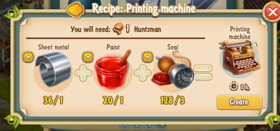 Golden Frontier Printing Machine Recipe
