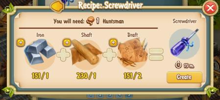Golden Frontier Screwdriver Recipe