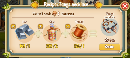 Golden Frontier Fang Necklace Recipe