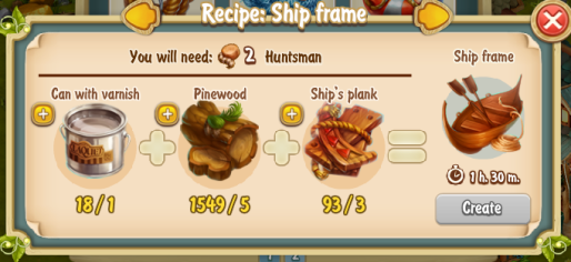 Golden Frontier Ship Frame Recipe