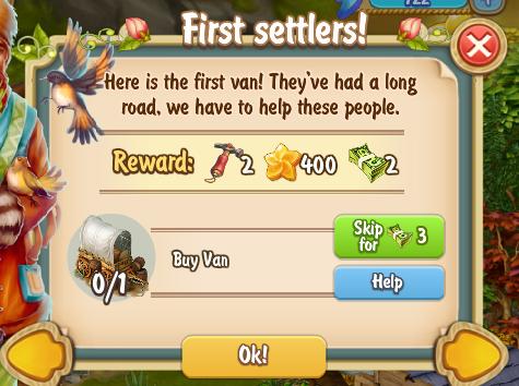Golden Frontier First Settlers Quest