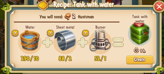 Golden Frontier Tank with Water Recipe