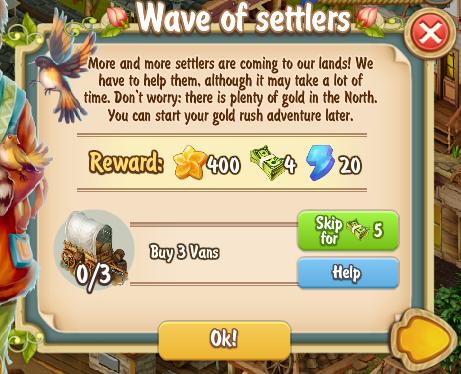 Golden Frontier Wave of Settlers Quest