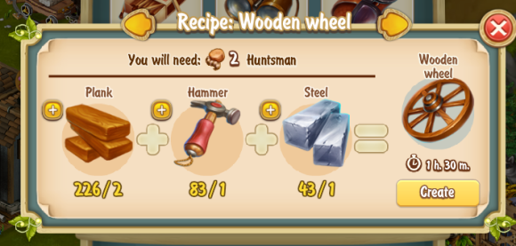 Golden Frontier Wooden Wheel Recipe