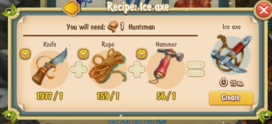 Golden Frontier Ice Axe Recipe (smithy)