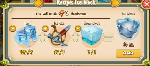 Golden Frontier Ice Block Recipe (igloo & rock quarry)