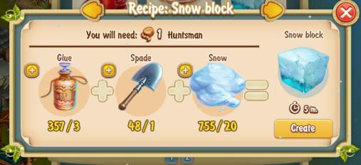 Golden Frontier Snow Block Recipe (igloo & rock quarry)