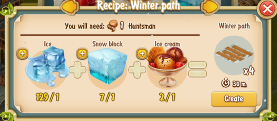 Golden Frontier Winter Path Recipe (igloo)