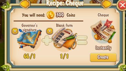 Golden Frontier Cheque Recipe