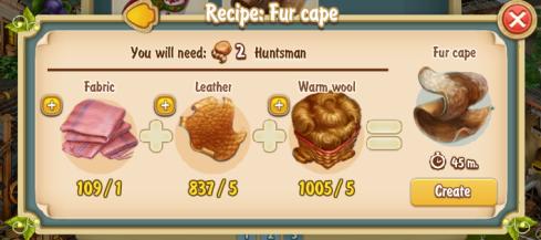 Golden Frontier Fur Cape Recipe (textile workshop)