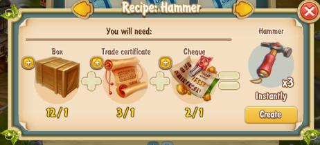 Golden Frontier Hammer x3 Recipe