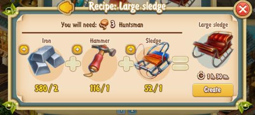 Golden Frontier Large Sledge Recipe (adventurer's club)