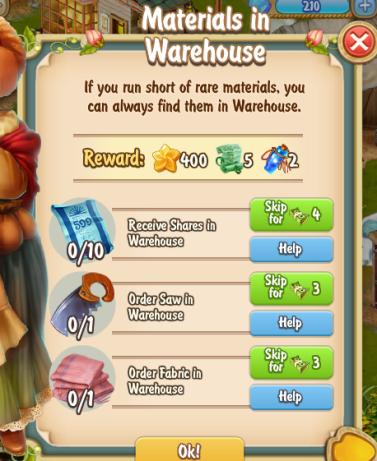 Golden Frontier Materials in Warehouse Quest