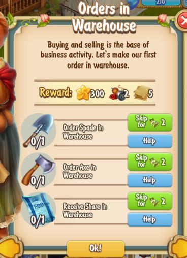 Golden Frontier Orders in Warehouse Quest