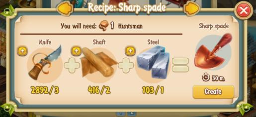Golden Frontier Sharp Spade Recipe (adventurer's club)