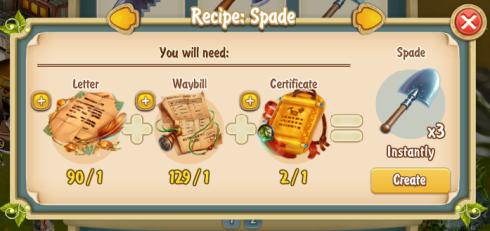 Golden Frontier Spade x3 Recipe