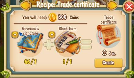 Golden Frontier Trade Certificate Recipe