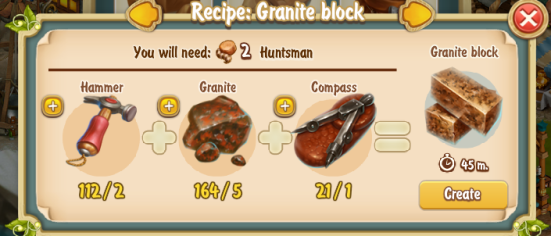 Golden Frontier Granite Block Recipe (rock quarry)