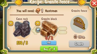 Golden Frontier Granite Fence Recipe (Sculptor's House)