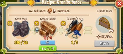 Golden Frontier Granite Fence x4 Recipe (Sculptor's House)