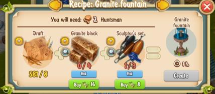 Golden Frontier Granite Fountain Recipe (Sculptor's House)