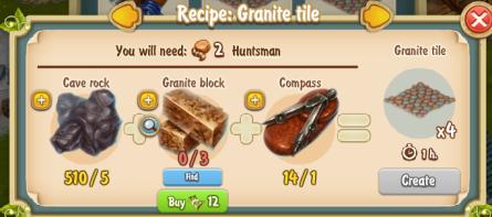 Golden Frontier Granite Tile x4 Recipe (Sculptor's House)