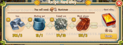 Golden Frontier Hard Alloy Recipe (Foundry)