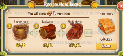 Golden Frontier Hard Board Recipe (sawmill)