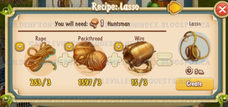 Golden Frontier Lasso Recipe (farmer's house)