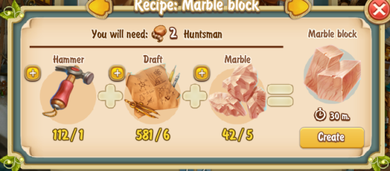 Golden Frontier Marble Block Recipe (rock quarry)