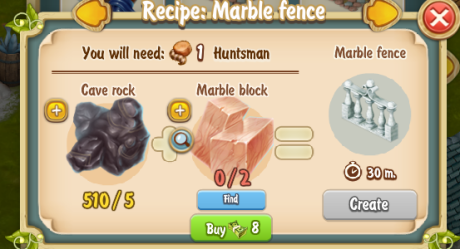 Golden Frontier Marble Fence Recipe (Sculptor's House)