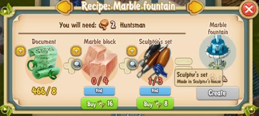 Golden Frontier Marble Fountain Recipe (Sculptor's House)