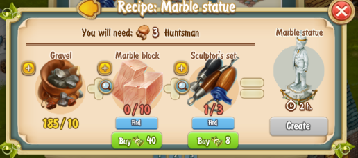 Golden Frontier Marble Statue Recipe (Sculptor's House)