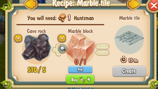 Golden Frontier Marble Tile Recipe (Sculptor's House)
