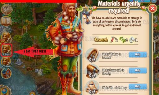 Golden Frontier Materials Urgently Required Quest