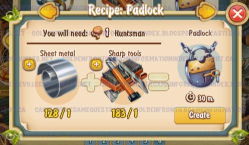 Golden Frontier Padlock Recipe (smithy)