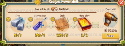 Golden Frontier Power Drill Recipe (Foundry)
