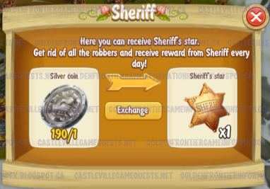 Golden Frontier Sheriff trading Coins