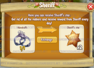 Golden Frontier Sheriff trading Handcuffs