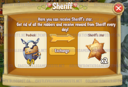 Golden Frontier Sheriff trading Padlock