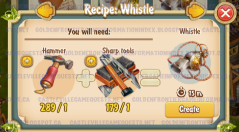 Golden Frontier Whistle Recipe (sheriff's office)