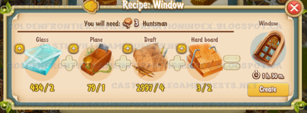 Golden Frontier Window Recipe (sawmill)